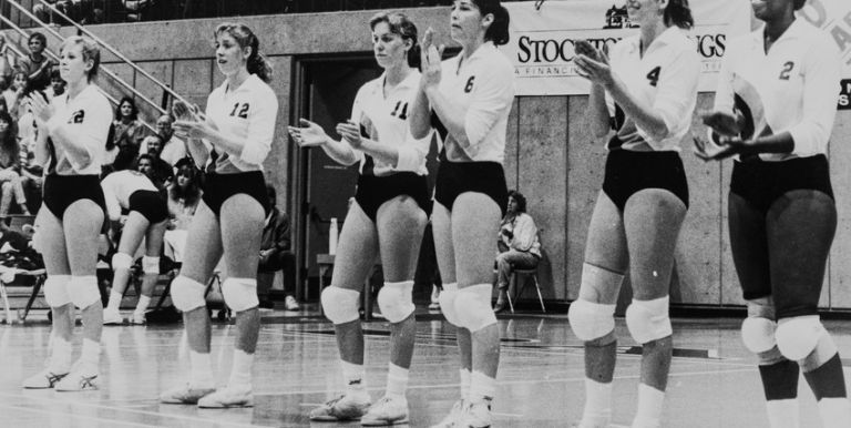 Pacific women's volleyball team in the 1980s.
