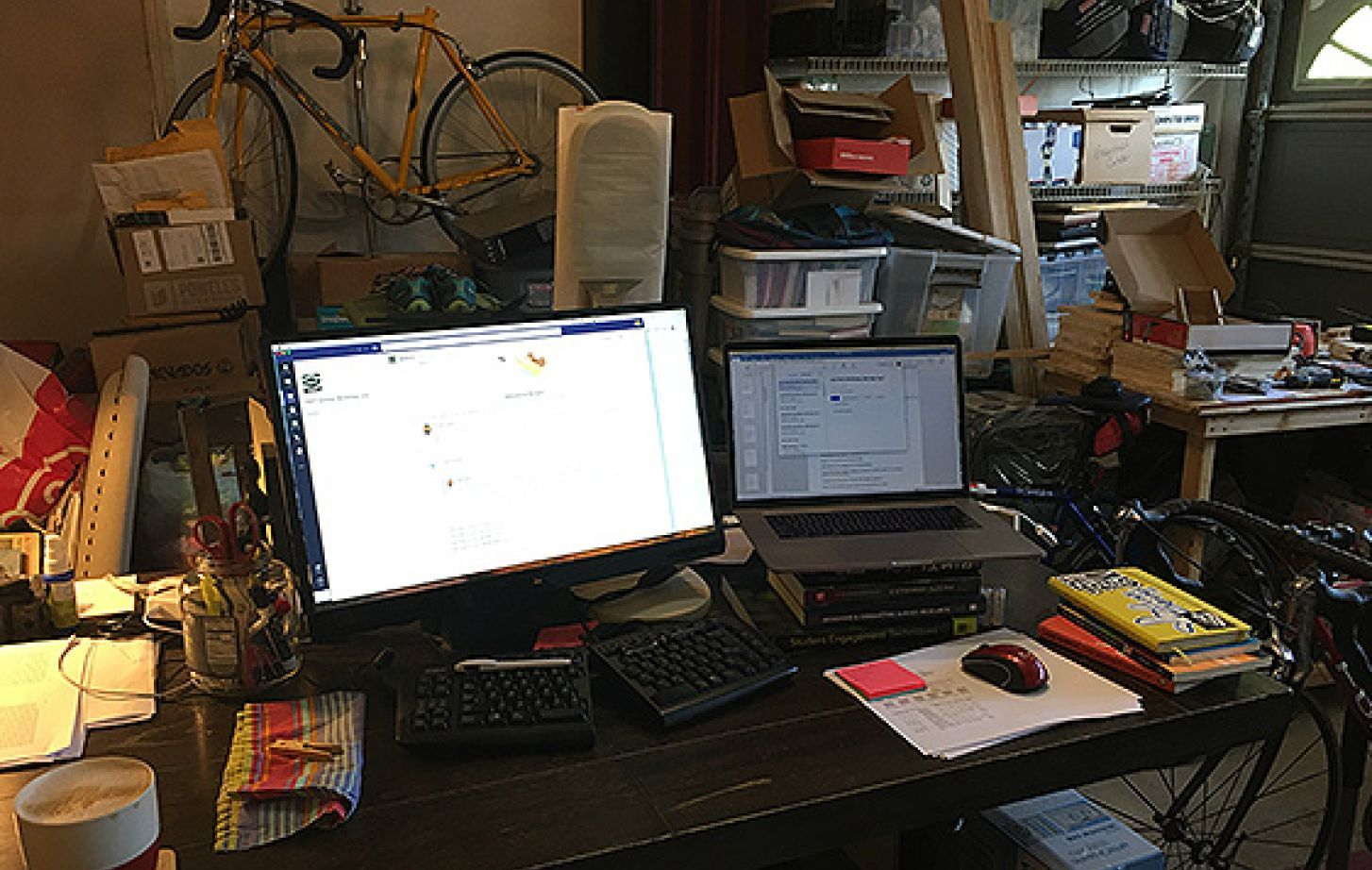 Political science professor Keith Smith has set up an office in his garage at home.