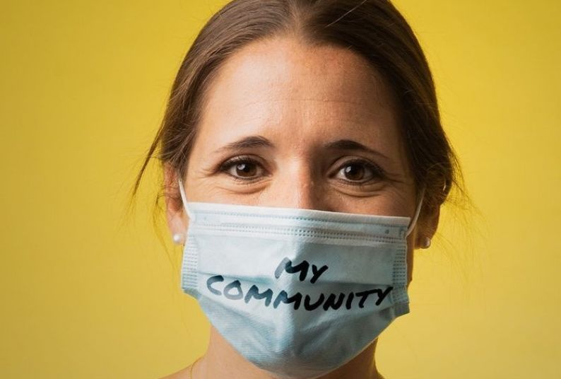 "Amy Ferrell '09 '13 helped lead and took part in United Way's ""Mask Up"" campaign."