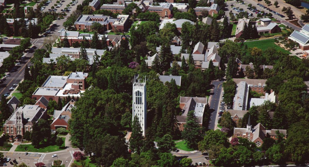 Aerial view of stockton campus