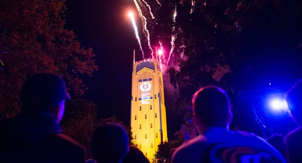 Burns Tower with fireworks