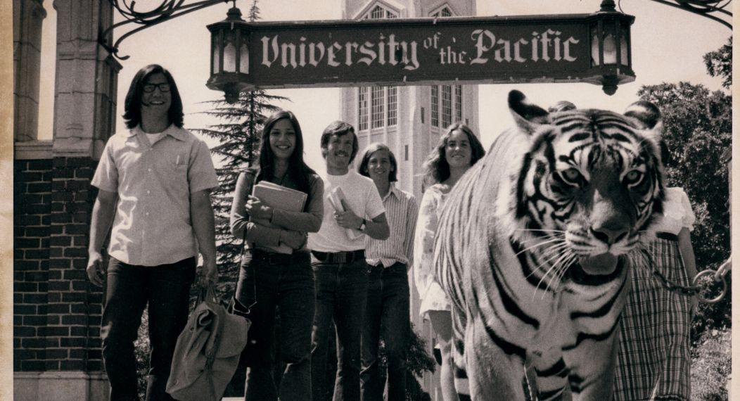 archive photo of students and tiger on campus