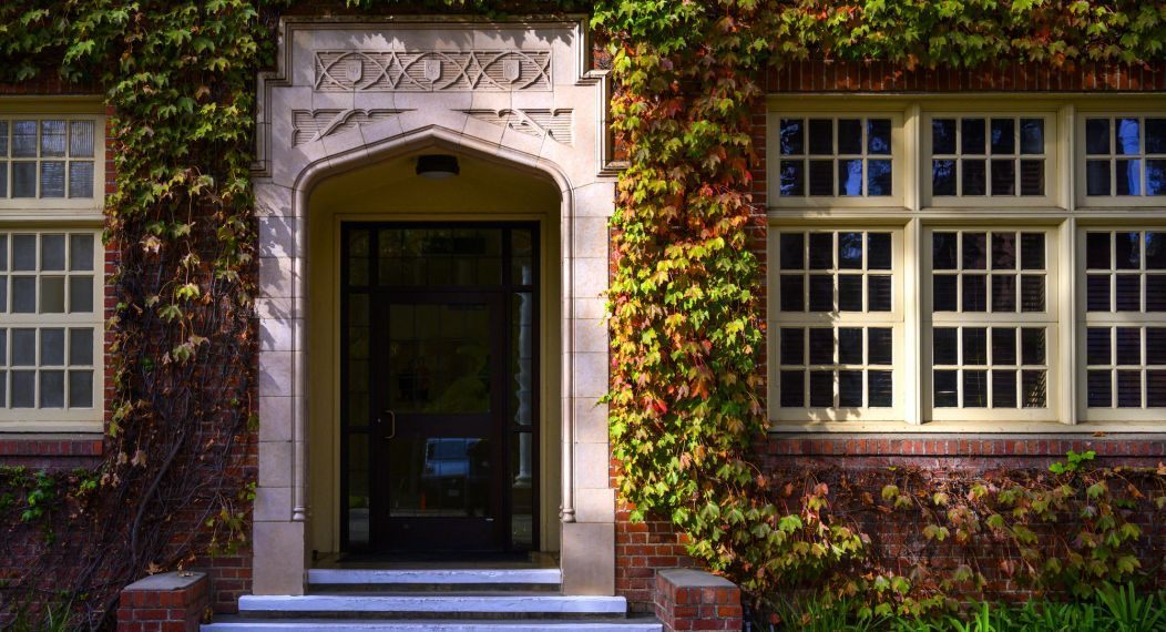 ivy growing on Knoles Hall