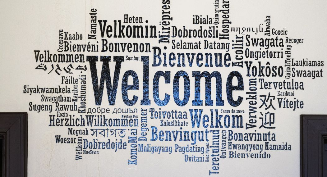 welcome sign in multiple languages