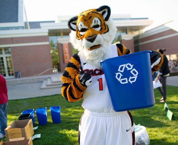 powercat with a recycling bin